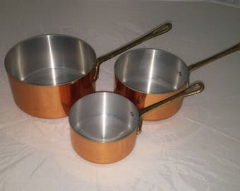 Set of 3 Vintage old French  Solid Cooper and Brass measuring  Casseroles with original hungers