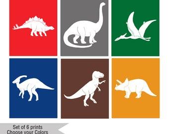 Dinosaur Wall Art Prints, Dinosaur Nursery Art, Kids Room, Dinosaur Theme Bedroom,  T Rex, Stegosaurus, Triceratops, Apatosaurus,