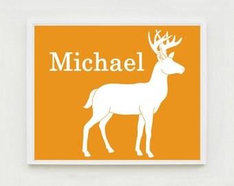 Personalized Deer Print, Deer Nursery Art, Woodland Nursery Art, Custom Name Art, Kids Wall Art, Woodland Bedroom, Custom Animal Art