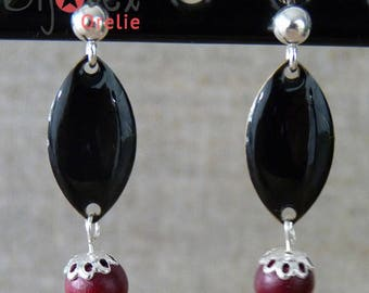 Silver earrings, black sequin and Red wooden bead