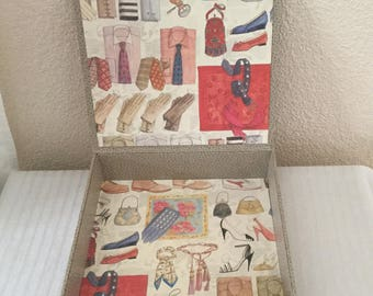 Storage for scarves handmade cartonnage handmade fashion accessories patterns and leatherette paper box.