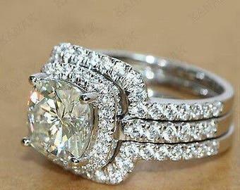 Handcrafted 3pcs 3 Carat Cushion Cut Engagement Ring Set