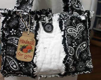 Flannel Rag Bag Black and White Bandana Purse/tote