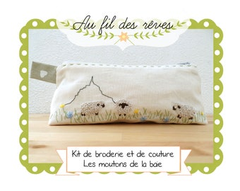 Sewing and embroidery Kit: Mont saint michel sheep
