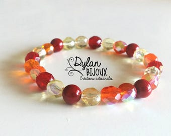 Red orange mix faceted Beads Bracelet
