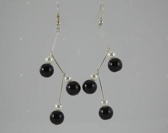Black and white Molecule earrings