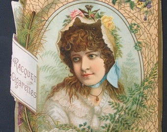 Victorian Advertising Lithograph Card (Racquet Cigarettes).