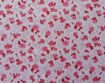 feuille de tissu autocollant  à motif fleuri dans les tons rouge et blanc   21*14.5 cm