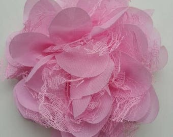 grande fleur en mousseline  et dentelle rose     11cm