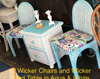 Wicker and Rattan Turquoise Chairs and Side Table Set