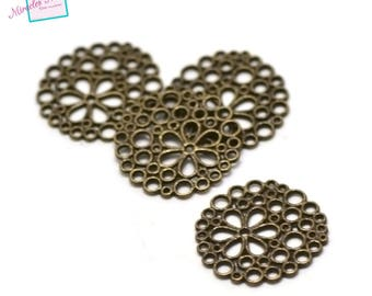 """10 """"circle flower"""" connectors, bronze 008"""