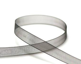 5 m of black organza Ribbon plain 12 mm