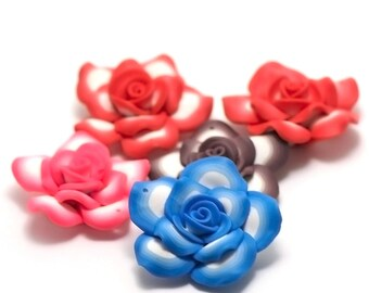 "Set of 5 pendants ""Polynesian flower"", 50x22mm, assortment of colors"