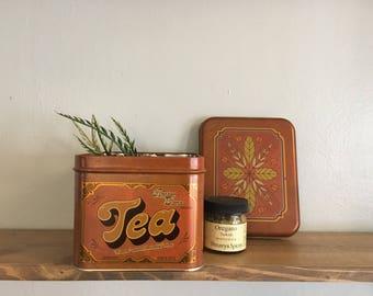 Vintage Tea Tin // Antique Copper Kitchen Decor // Amber Blend Oriental Teas // Canister