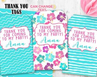 Luau tags Hawaii Thank you tags Summer Gift tags Luau birthday party tags