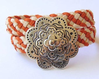 Bracelet 2 laps braided imitation suede two-tone ecru and ochre from flower