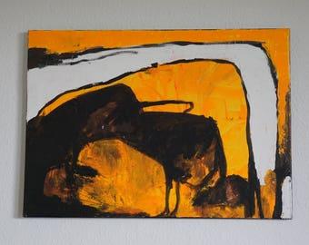 gestural acrylic painting, Emil Schumacher, yellow, black, white