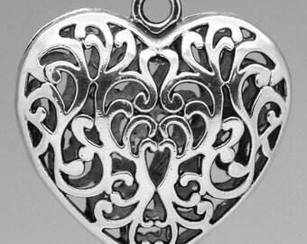 """1 """"5.1x5 cm"""" Silver heart charm"""