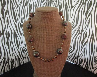 Bronze & Silver Beaded Necklace