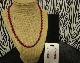 Red & Black Necklace/Earrings Set