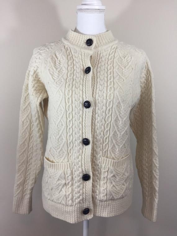 Women's Vintage Aran Isles 100% Wool Fisherman Cable Knit