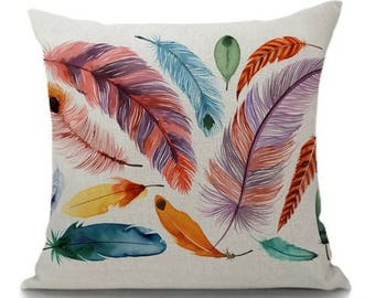 Boho Feathers Pillow Case Cover