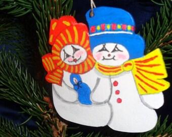 Christmas hanging decoration: snowman Couple