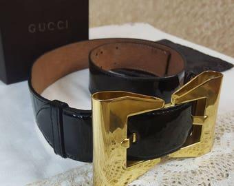 VINTAGE GUCCI BELT/ Womens Leather Belt/Patent Leather /Patent Leather  Belt