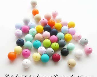 50 beads 15 mm silicone, mix color