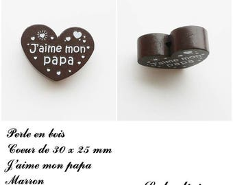 30 x 25 mm wooden bead, Pearl flat heart, I love my Daddy: Brown