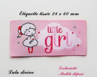 Woven label - little girl - 28 x 60 mm, pink cloud little girl