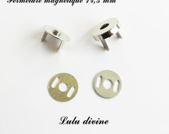 2 magnetic clasps, magnetic closure for bag Ø 14.5 mm silver - frame
