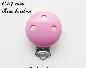 Clip / wooden pacifier Clip, Ø 37 mm from loop: candy pink