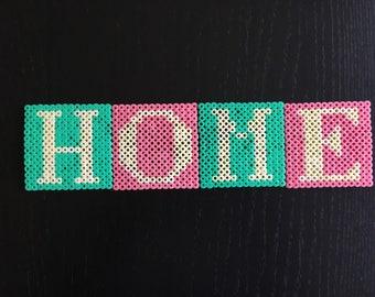 Set of 4 coasters glass home Hama bead