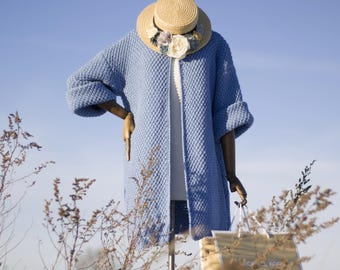 Knit coat handmade wool