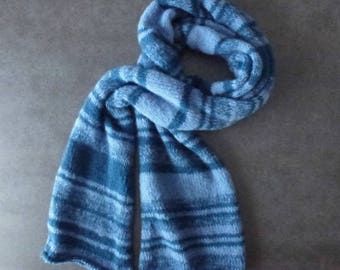 Great trendy Denim Blue and dark blue knitted scarf handmade