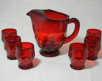 Viking Glass Ruby Red Georgian Pattern Pitcher and Tumbler Set