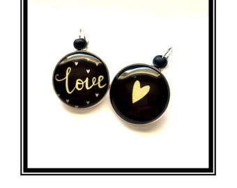 "Original & unique earrings ""Love"" black gold Love Black Gold heart heart"