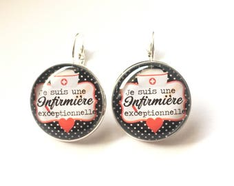 "Earrings & single ""I'm an exceptional nurse"" custom, derision, blue, pink, polka dots, bow, humor"