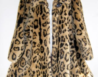 Vintage Saks Fifth Avenue Animal Print Faux Fur Swing Coat/SZ 6