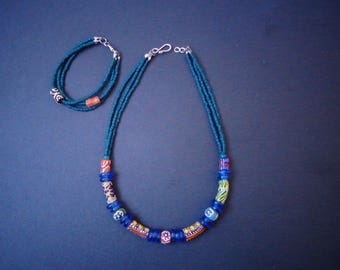 African glass trade beads necklace and bracelet pair   Krobo beads   trade beads   Ghana necklace   African necklace   glass beads   boho