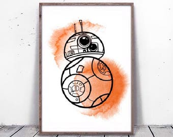 Star Wars minimalist BB8 poster, orange and black driod BB-8 poster, printable BB 8 Star Wars art fanart