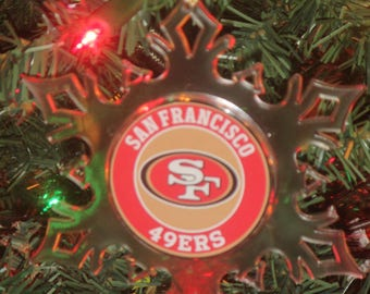 San Francisco 49ers  Football Personalized Acrylic SnowFlake Ornament *Free Personalization*