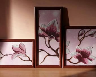 Paintings triptych Magnolias in glass beads