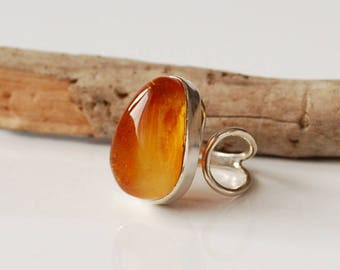 Natural Baltic Amber Ring, Beautiful Gold Amber Ring, Amber And Sterling Silver Adjustable Ring, Baltic Amber Jewelry, Amber Gift, Gemstone