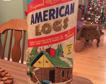 Vintage 1950s Halsam American Logs # 815 Senior Size 103 Pieces Wood Hewn Building Blocks w/ Tube Similar to Lincoln Logs