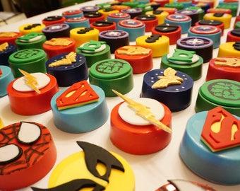 Fondant Superheros Themes ,Edible Spiderman,Edible Superman, Fondant Hulk,  Chocolate Oreo  Cookie