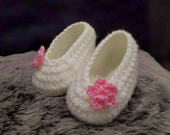 Crochet baby girl shoes, Newborn Ballerina Shoes, Baby Slippers, Crochet baby booties