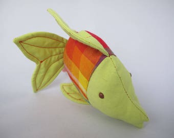 Doudou madras and lime green tropical fish orange red birth gift