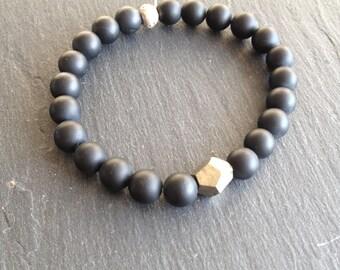 raw pyrite and black men bracelet